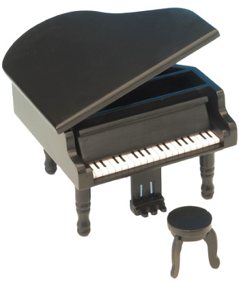 Black Miniature Musical Grand Piano 21006