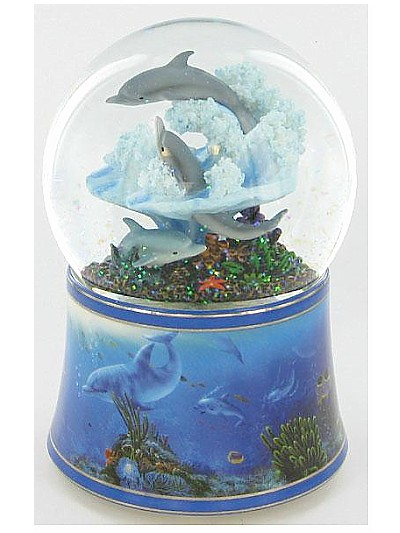 Twinkle Fiesta Dolphin Musical Waterglobe available from The Music Box Shop, Bristol.