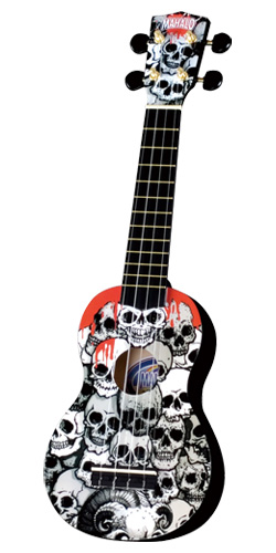 Mahalo soprano ukulele skull decoration for Decoration ukulele