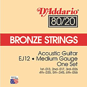 D'Addario 80/20 Bronze Acoustic Guitar Strings EJ12