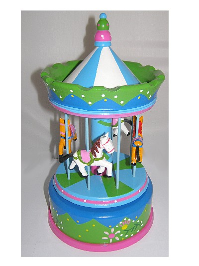 Large wooden hand painted carousel with musical box movement from The Music Box Shop