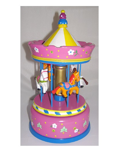 Large Wooden Musical Carousel 44038