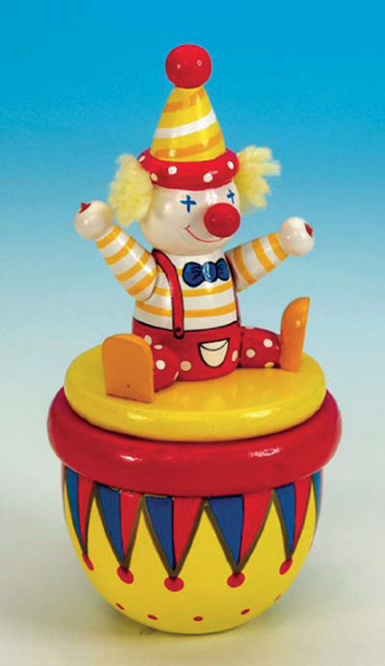 Wooden Clown Figurine 43747 available from The Music Box Shop, Bristol.