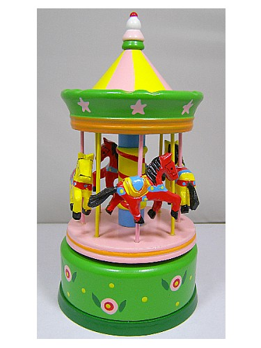 Wooden Music Box Carousel 43739
