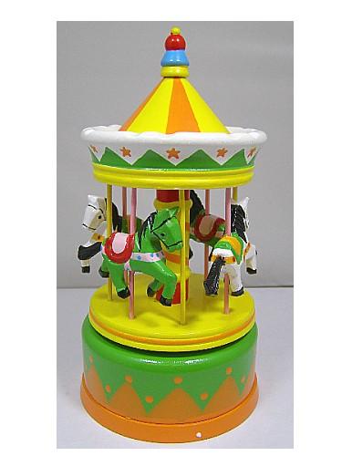 Wooden Music Box Carousel 43740